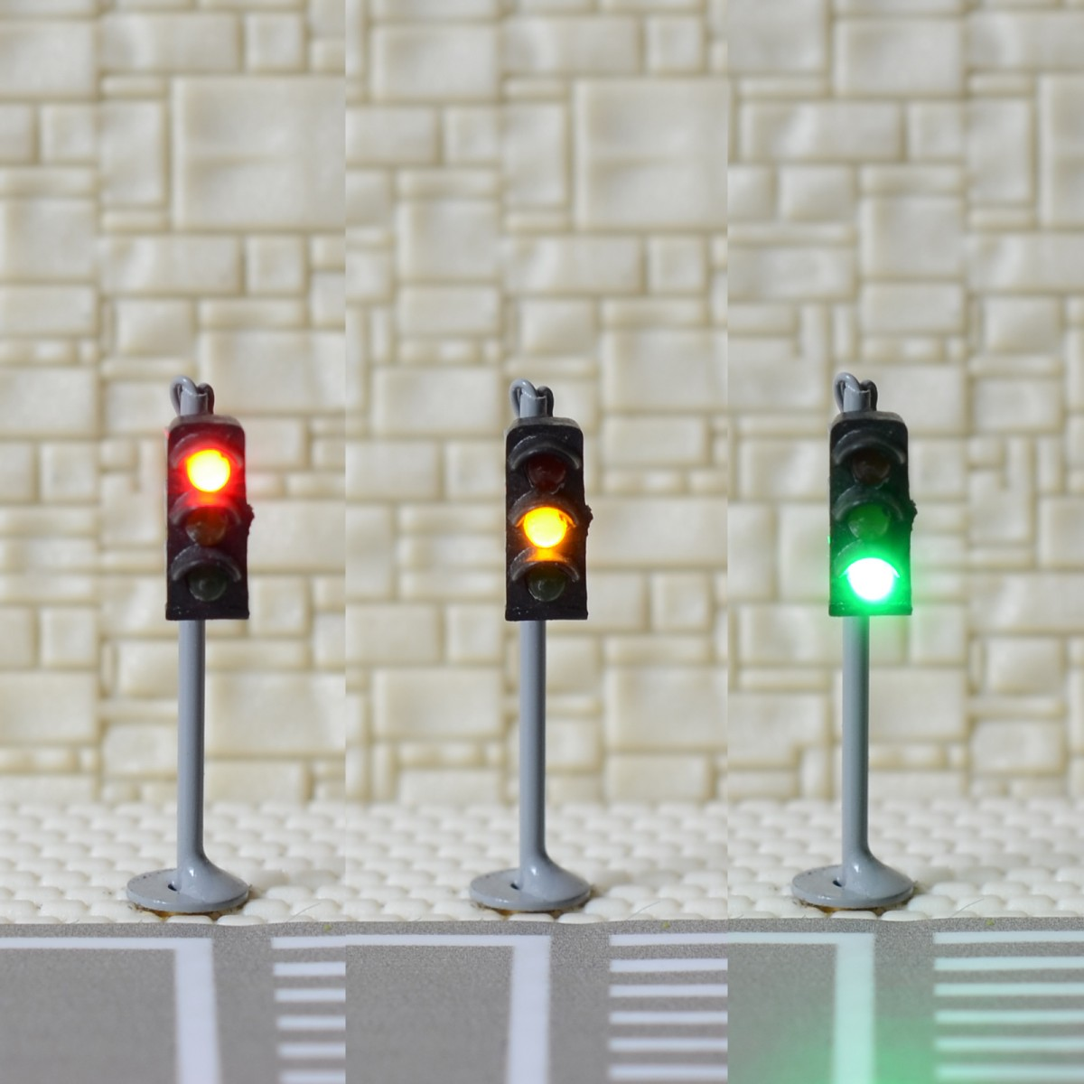 1 x traffic signal light N scale model railroad crossing walk pedestrian #GR3N